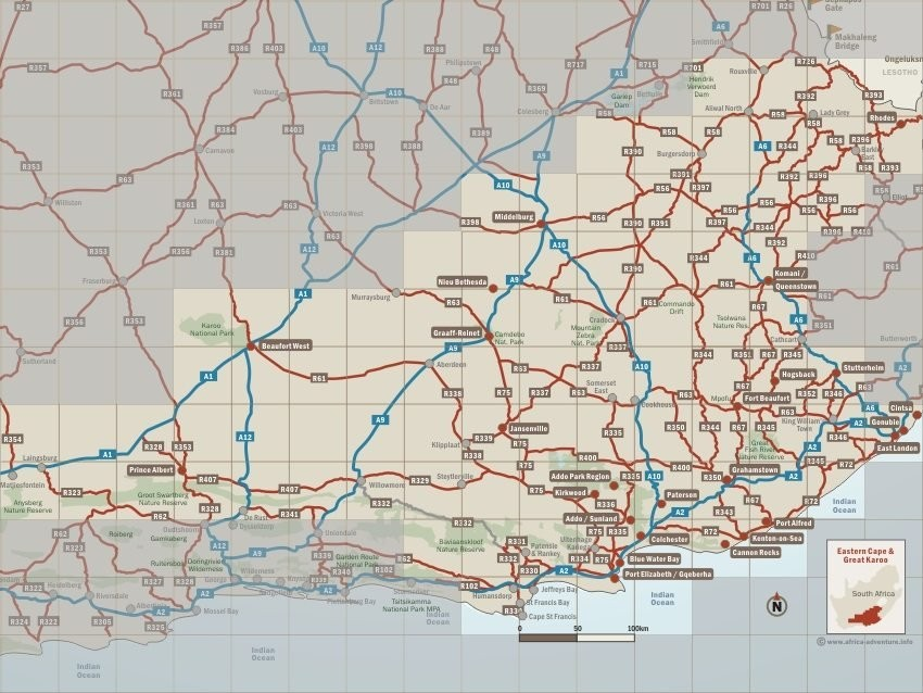 Eastern Cape and Great Karoo Map, South Africa