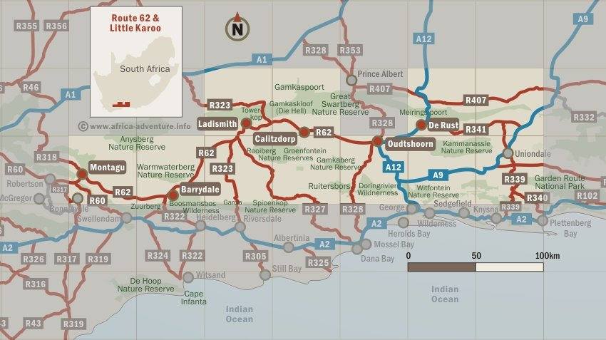 Route 62 & Little Karoo Map, South Africa
