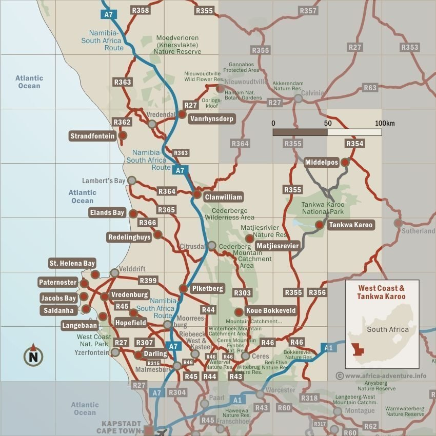 West Coast and Tankwa Karoo Map, South Africa