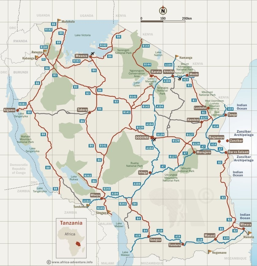 tanzania mapTanzania Map & Destinations
