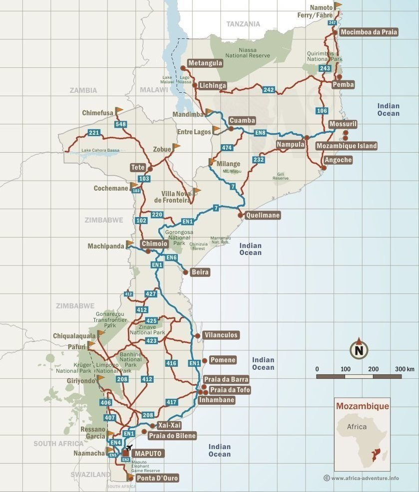 Map of Mozambique & Destinations