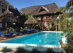 Swimming pool at Aluna Beach Lodge on Zanzibar Island