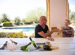 Champagne by the pool at Christofphs Guesthouse