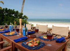 Dining with sea view at Hodi Hodi Zanzibar Beach Houses