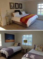Double and twin room at Kunjani Cottages in Stellenbosch