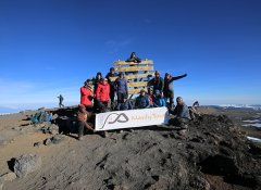 At Mount Kilimanjaro summit with Mauly Tours from Moshi