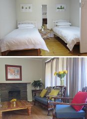 Twin room and lounge at Modderkloof Farm Accommodation