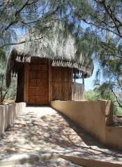 The Shipwreck Lodge's thatched accommodation in Pomene