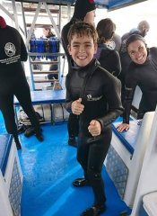 Cage diving for children with White Shark Diving Co