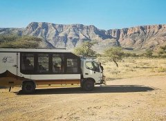 Wild Dog Safaris bus in Namibia with base in Windhoek