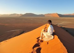 In the Namib dunes on a Wild Dog Safaris Overland Trip