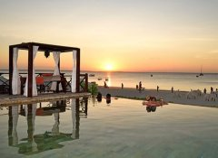 Infinity pool with sea view at the Z Hotel in Zanzibar